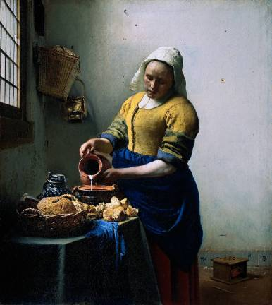 """Vermeer Melkmeid"" von Johannes Vermeer - ""Vermeer Melkmeid"" von Johannes Vermeer - http://www.ibiblio.org/wm/paint/auth/vermeer/kitchen-maid, http://www.ibiblio.org/wm/about/credits.html#mhardenTransferred from de.wikipedia; transferred to Commons by User:Ireas using CommonsHelper, 17. Oktober 2004 (original upload date), Original uploader was RobertLechner at de.wikipedia. Lizenziert unter Public domain über Wikimedia Commons."